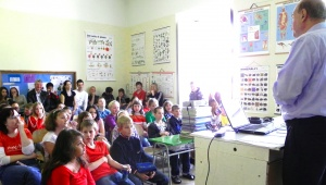 Telling students about Antarctica at a primary school in the Czech Republic