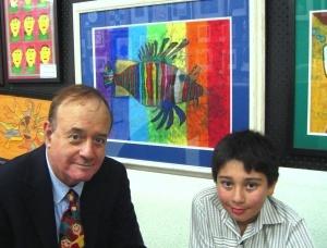"Son, Tommi's ""Rainbow Lionfish"" exhibited at his Australian school's annual art show"