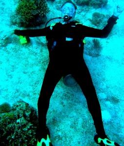 Giant reclining scuba diver Sipadan Island, Malaysia