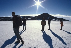 Adventurers hike to McMurdo Station in Antarctica, the continent's largest scientific base.