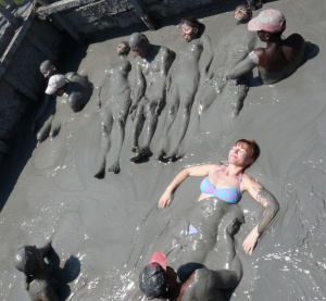 Giant reclining mud bather inside Totumo mud volcano near Cartagena, Colombia