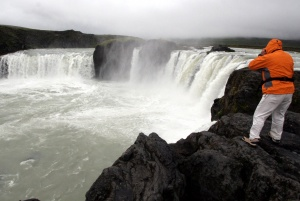 Photographing at Godafoss Falls in Iceland