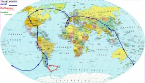 Route of the seven-continent journey in 80 days--by air, ship, car and train